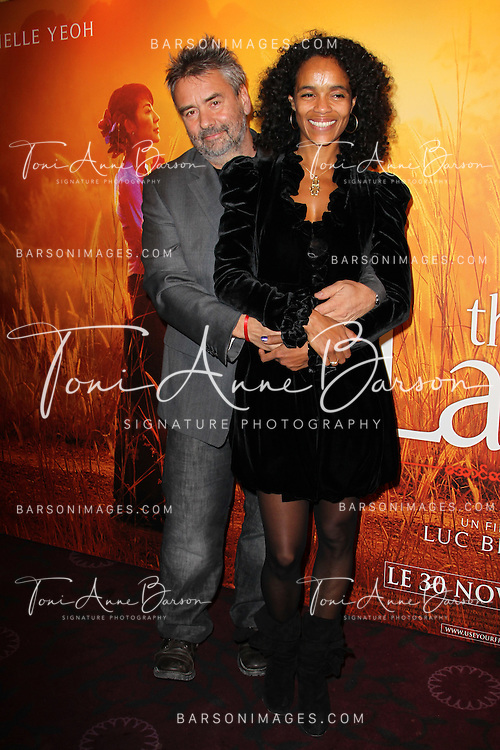 "PARIS, FRANCE - NOVEMBER 22: Luc Besson and spouse Virginie Silla attend ""The Lady"" Premiere at the Gaumont Capucines Theater on November 22, 2011 in Paris.(Photo by Tony Barson/BARSONIMAGES)"