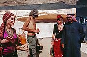 People drinking under a shade at Middle East Tek, Wadi Rum, Jordan, 2008
