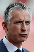 Alan Smith giving a pre match interview during the Barclays Premier League match between Stoke City and Liverpool at the Britannia Stadium, Stoke-on-Trent, England on 9 August 2015. Photo by Alan Franklin.