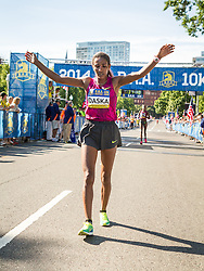 Boston Athletic Association 10K road race: Mamitu Daska, Ethiopia, after winning race