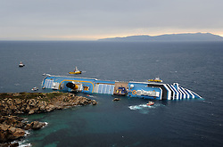 "The Wrecked Cruise Ship ""Costa Concordia"" in Giglio, Italy, Photo By Nick Cornish/ I-Images"
