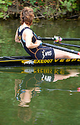 Duisburg, GERMANY.  Women's Single scull, relected, teturns through the channel connecting the two lakes at the Wedau Regatta Course. 2012 FISA Masters World Championship. .11:34:34  Thursday  06/09/2012   ..[Mandatory Credit Peter Spurrier:  Intersport Images]  ..Rowing, Masterss, 2012010448.jpg...