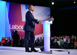 © Licensed to London News Pictures. 01/10/2012. Manchester, UK Shadow Chancellor Ed Balls makes his conference speech on Rebuilding the Economy. Labour Party Conference Day 2 at Manchester Central. Photo credit : Stephen Simpson/LNP