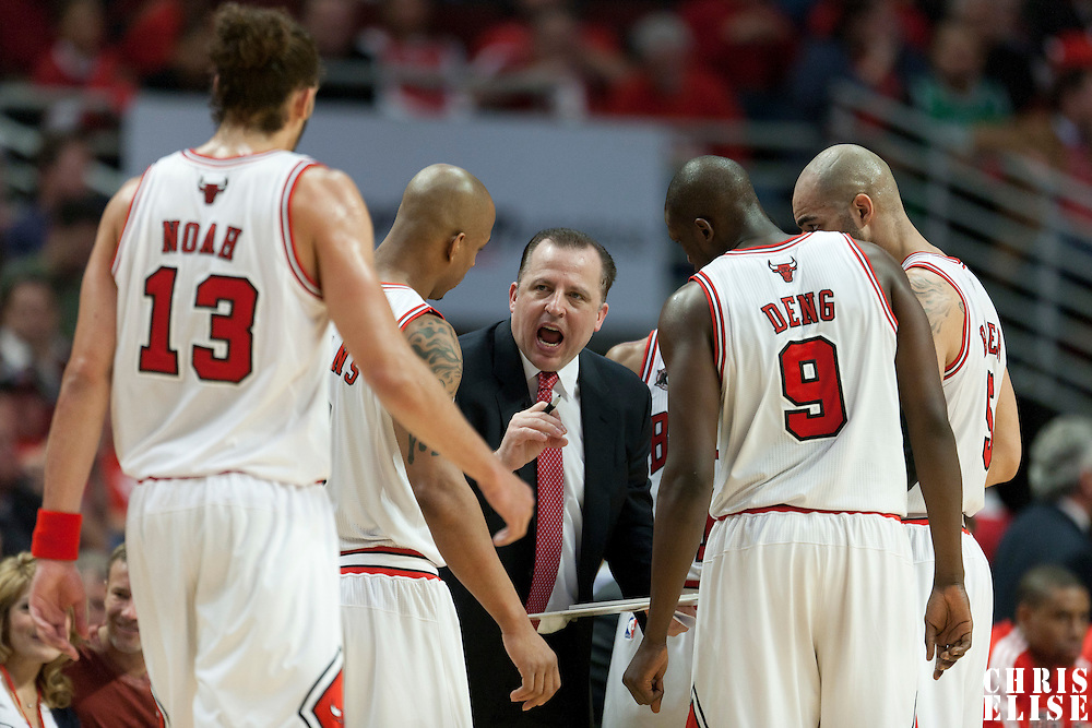16 April 2011: Chicago Bulls Head Coach Tom Thibodeau is seen talking to his players during the Chicago Bulls 104-99 victory over the Indiana Pacers, during the game 1 of the Eastern Conference first round at the United Center, Chicago, Illinois, USA.