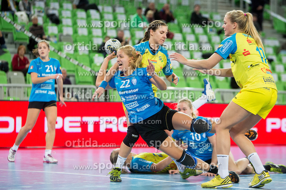 Sanja Gregorc of RK Krim Mercator during handball match between RK Krim Mercator (SLO) and HC Leipzig (GER) in 6th Round of Women's EHF Champions League 2014/15, on November 21, 2014 in Arena Stozice, Ljubljana, Slovenia. Photo by Urban Urbanc / Sportida