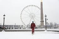 France. Paris. 8th district. Concord square  under the snow