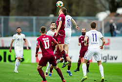 Aleš Mertelj of Triglav vs Dino Hotić of Maribor during Football match between NK Triglav and NK Maribor in 25th Round of Prva liga Telekom Slovenije 2018/19, on April 6, 2019, in Sports centre Kranj, Slovenia. Photo by Vid Ponikvar / Sportida