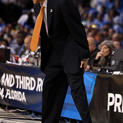 Mar 17, 2011; Tampa, FL, USA; Princeton Tigers head coach Brad Brownell during second half of the second round of the 2011 NCAA men's basketball tournament against the Kentucky Wildcats at the St. Pete Times Forum. Kentucky defeated Princeton 59-57.  Mandatory Credit: Derick E. Hingle