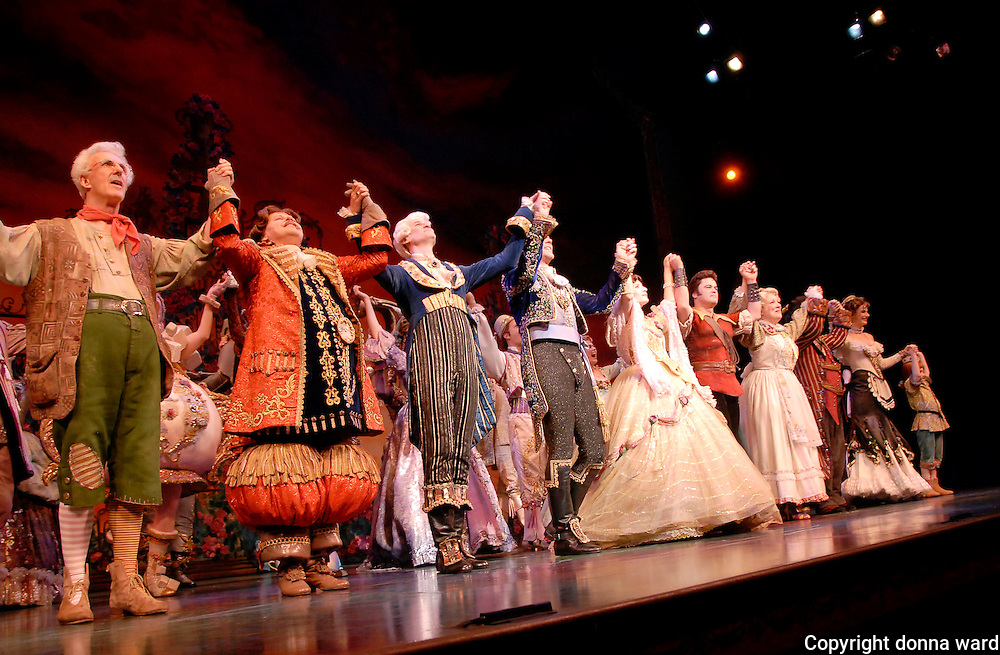 """Cast members take their bow on stage during final curtain call of """"Beauty And The Beast """" at the Lunt-Fontanne Theatre on July 29, 2007 in New York City."""