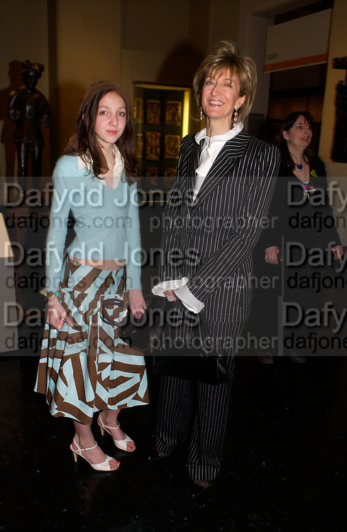 Tish Weinstock and hon Mrs. Laura Weinstock, Opening of Vivienne Weatwood exhibition. V. & A. 30 March 2004. ONE TIME USE ONLY - DO NOT ARCHIVE  © Copyright Photograph by Dafydd Jones 66 Stockwell Park Rd. London SW9 0DA Tel 020 7733 0108 www.dafjones.com