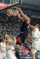 09.09.2014, City Arena, Barcelona, ESP, FIBA WM, Slowenien vs USA, im Bild Slovenia's Miha Zupan (l) and Jure Balazic (r) and USA's Anthony Davis // during FIBA Basketball World Cup Spain 2014 match between Slovenia and USA at the City Arena in Barcelona, Spain on 2014/09/09. EXPA Pictures © 2014, PhotoCredit: EXPA/ Alterphotos/ Acero<br /> <br /> *****ATTENTION - OUT of ESP, SUI*****