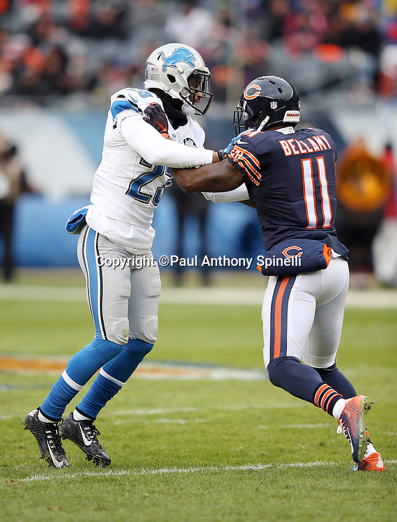 Detroit Lions cornerback Darius Slay (23) leaps in bumps Chicago Bears wide receiver Josh Bellamy (11) while the receiver runs a pass route during the NFL week 17 regular season football game against the Chicago Bears on Sunday, Jan. 3, 2016 in Chicago. The Lions won the game 24-20. (©Paul Anthony Spinelli)