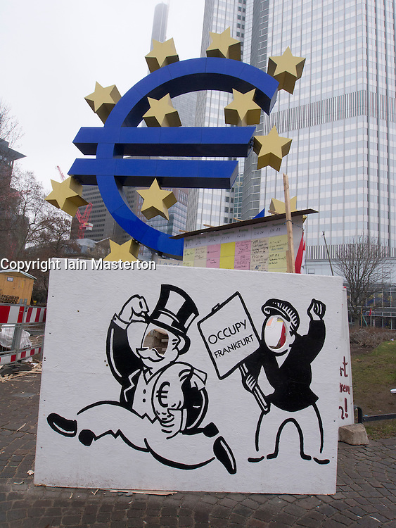 Site of Occupy Frankfurt protest site outside European Central Bank (ECB) headquarters in Frankfurt Germany