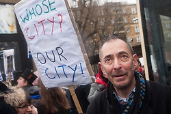 London, January 31st 2015. Hundreds march from South and East London to  City Hall to demand better homes for Londoners and an end to the housing crisis, better tratment and conditions for the homeless and a stop to the selling off of quality council homes to property developers who then price Londoners out of the market.