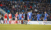 A bit off afters after a challenge during the Sky Bet League 1 match between Gillingham and Barnsley at the MEMS Priestfield Stadium, Gillingham, England on 13 February 2016. Photo by Andy Walter.