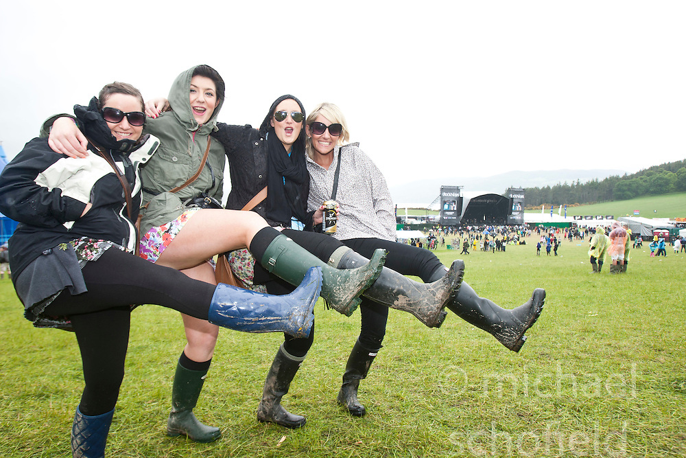 Gemma Rose, Emma MacKAy, NadineMacKay & Leonie Fraser. Fans in the main arena..Rockness, Sunday 13th June..Pic ©2010 Michael Schofield. All Rights Reserved.
