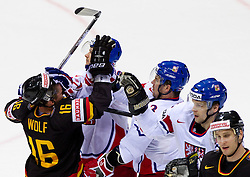 Michael Wolf of Germany in fight  with Patrik Elias and Marek Zidlicky of Czech republic during ice-hockey match between Germany and Czech republic of Group E in Qualifying Round of IIHF 2011 World Championship Slovakia, on May 9, 2011 in Orange Arena, Bratislava, Slovakia.  (Photo By Vid Ponikvar / Sportida.com)