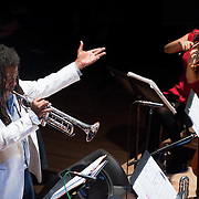 "December 16, 2011 - Brooklyn, NY : Wadada Leo Smith, on trumpet, leads his ""Silver Orchestra"" as they perform during a concert in celebration of Leo's 70th birthday at Roulette in Brooklyn on Friday night. CREDIT: Karsten Moran for The New York Times"