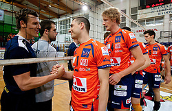 Jernej Potocnik of Kropa and Andrej Flajs of ACH after the volleyball match between ACH Volley Bled and UKO Kropa at final of Slovenian National Championships 2011, on April 27, 2011 in Arena SGTS Radovljica, Slovenia. ACH Volley defeated Kropa 3-0 and became Slovenian National Champion 2011. (Photo By Vid Ponikvar / Sportida.com)