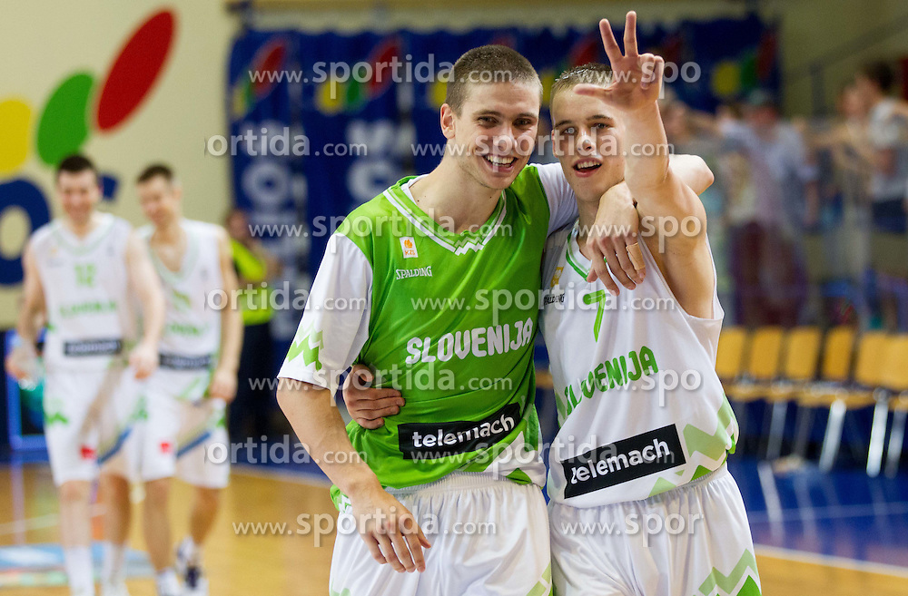Jaka Brodnik of Slovenia, Klemen Prepelic of Slovenia celebrate after the basketball match between National teams of Slovenia and Lithuania in First Round of U20 Men European Championship Slovenia 2012, on July 14, 2012 in Domzale, Slovenia. Slovenia defeated Lithuania 87-81. (Photo by Vid Ponikvar / Sportida.com)