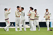 Wicket - Lewis Gregory of Somerset celebrates taking the wicket of Gareth Berg of Hampshire during the opening day of the Specsavers County Champ Div 1 match between Somerset County Cricket Club and Hampshire County Cricket Club at the Cooper Associates County Ground, Taunton, United Kingdom on 11 May 2018. Picture by Graham Hunt.
