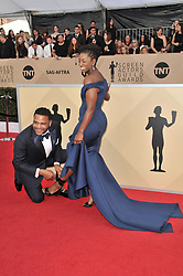 Alvina Stewart and Anthony Anderson arrives at the 24th annual Screen Actors Guild Awards at The Shrine Exposition Center on January 21, 2018 in Los Angeles, California. <br />
