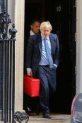 © Licensed to London News Pictures. 04/009/2019. London, UK. Prime Minister British Prime Minister BORIS JOHNSON departs from Number 10 Downing Street to attend his first Prime Minister's Questions (PMQs) in the House of Commons. On Monday 3 Sept 2019, MP's voted by 328 - 301 with a majority of 27 to take control of the House of Commons agenda for Tuesday 4 Sept 2019. Photo credit: Dinendra Haria/LNP