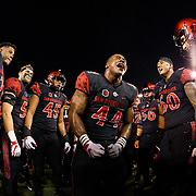 20 October 2018: San Diego State Aztecs linebacker Kyahva Tezino (44) pumps the team up prior to taking on the San Jose State Spartans for homecoming. The Aztecs beat the Spartans 16-13 Saturday night at SDCCU Stadium.