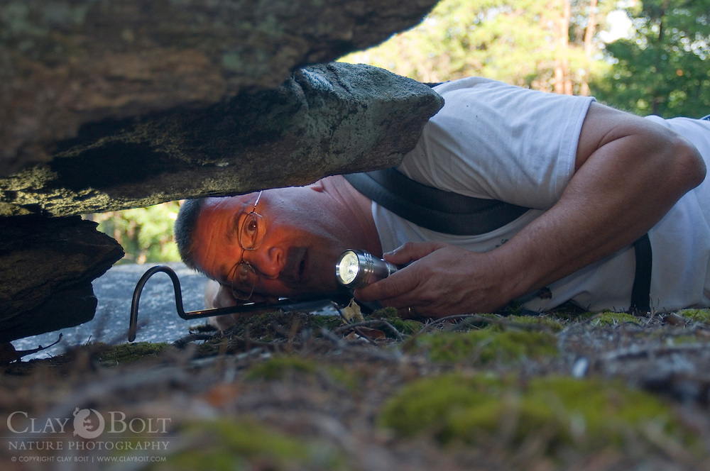 The Nature Conservancy's Nine Times Preserve in Pickens County, South Carolina is rich in herpefauna. An amateur herpetologist and nature photographer Alex Garcia searches beneath boulders for reptiles and amphibians.