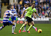 Brighton central midfielder, Dale Stephens (6) gets to the ball ahead of Reading midfielder Oliver Norwood (6) during the Sky Bet Championship match between Reading and Brighton and Hove Albion at the Madejski Stadium, Reading, England on 31 October 2015. Photo by David Charbit.
