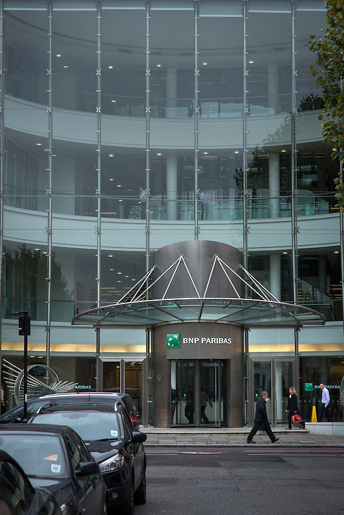 The global headquarters  of BNP Paribas, a French bank and financial services company, Marylebone, London, Britain.