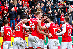 Rotherham United players celebrate their third goal againstFleetwood Town - Mandatory by-line: Ryan Crockett/JMP - 07/04/2018 - FOOTBALL - Aesseal New York Stadium - Rotherham, England - Rotherham United v Fleetwood Town - Sky Bet League One