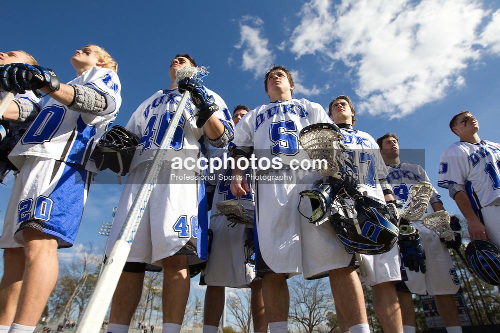 27 February 2010: Duke Blue Devils men's lacrosse in a 16-11  win over the Pennsylvania Quakers  at Koskinen Stadium in Durham, NC