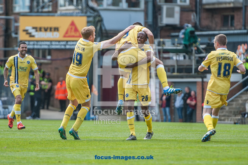 Joe Martin of Millwall celebrates with team mates after scoring his sides third goal with a free kick during the Sky Bet League 1 Playoff  Semi-final Leg One at the Coral Windows Stadium, Bradford<br /> Picture by Matt Wilkinson/Focus Images Ltd 07814 960751<br /> 15/05/2016