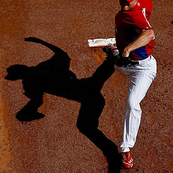 March 03, 2012; Clearwater, FL, USA; Philadelphia Phillies relief pitcher Jonathan Papelbon (58) warms up in the bull pen during spring training game against the New York Yankees at Bright House Networks Field. Mandatory Credit: Derick E. Hingle-US PRESSWIRE