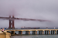 Golden Gate Bridge Engulfed in Fog, Torpedo Wharf