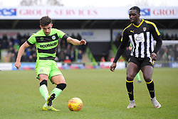 Liam Shephard of Forest Green Rovers competes with Enzio Boldewijn of Notts County - Mandatory by-line: Nizaam Jones/JMP- 09/02/2019 - FOOTBALL - New Lawn Stadium- Nailsworth, England - Forest Green Rovers v Notts County - Sky Bet League Two