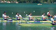 Aiguebelette, FRANCE  Bronze medallist, GBR M8+ left to right, Alan SINCLAIR, Nathaniel REILLY-O'DONNELL, Matt LANGRIDE and Peter REED. at the 2014 FISA World Cup II. 14:23:42  Sunday  22/06/2014. [Mandatory Credit; Peter Spurrier/Intersport-images]