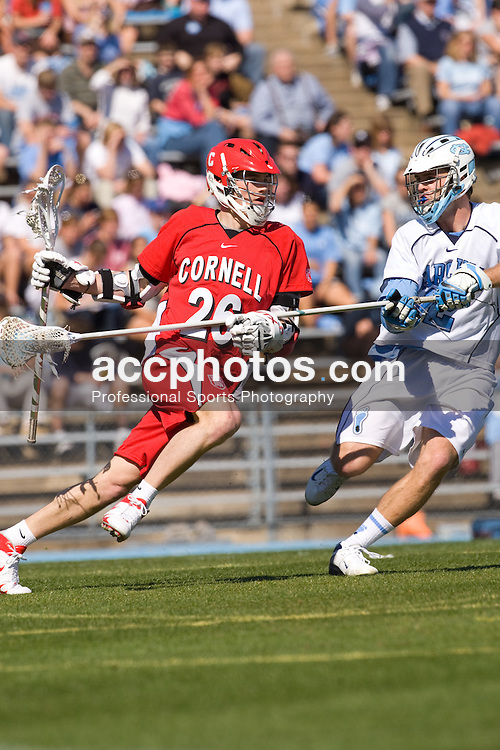 02 March 2008: Cornell Big Red attackman Ryan Hurley (26) during a 13-8 loss to the North Carolina Tar Heels on Fetzer Field in Chapel Hill, NC.