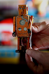 © London News Pictures. 13/03/2016. A 1939 Japanese made robot which is estimated at £600 at Vectis Auction House in Thornaby, England March 13 2016. Around 1000 pieces from a North Yorkshire couple will go under the hammer on March 15. The collection was built over 40 years and includes pieces from 1939 to the mid 90's . Photo credit: Nigel Roddis/LNP