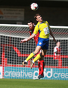 Accrington Stanley midfielder Sean McConville and Crawley Town defender Liam Donnelly compete for a high ball during the Sky Bet League 2 match between Crawley Town and Accrington Stanley at the Checkatrade.com Stadium, Crawley, England on 26 September 2015. Photo by Bennett Dean.