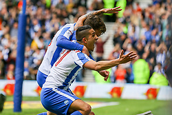 Goal, Solly March of Brighton & Hove Albion scores, Brighton & Hove Albion 2-0 Wigan Athletic - Mandatory by-line: Jason Brown/JMP - 17/04/2017 - FOOTBALL - Amex Stadium - Brighton, England - Brighton and Hove Albion v Wigan Athletic - Sky Bet Championship