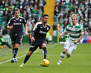 Dundee's Kane Hemmings goes past Celtic's Gary Mackay-Steven  - Celtic v Dundee - Ladbrokes Premiership at Celtic Park<br /> <br /> <br />  - © David Young - www.davidyoungphoto.co.uk - email: davidyoungphoto@gmail.com