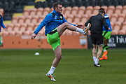 Forest Green Rovers Lee Collins(5) warming up during the EFL Sky Bet League 2 match between Barnet and Forest Green Rovers at The Hive Stadium, London, England on 7 April 2018. Picture by Shane Healey.