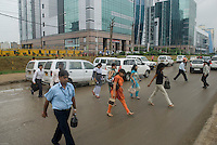 Workers arriving in Gurgaon,New Delhi's new CBD, an hour South of the city.