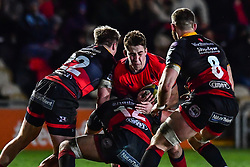 Huw Taylor of Worcester Warriors Connor Edwards of Dragons - Mandatory by-line: Craig Thomas/JMP - 02/02/2018 - RUGBY - Rodney Parade - Newport, Gwent, Wales - Dragons v Worcester Warriors - Anglo Welsh Cup