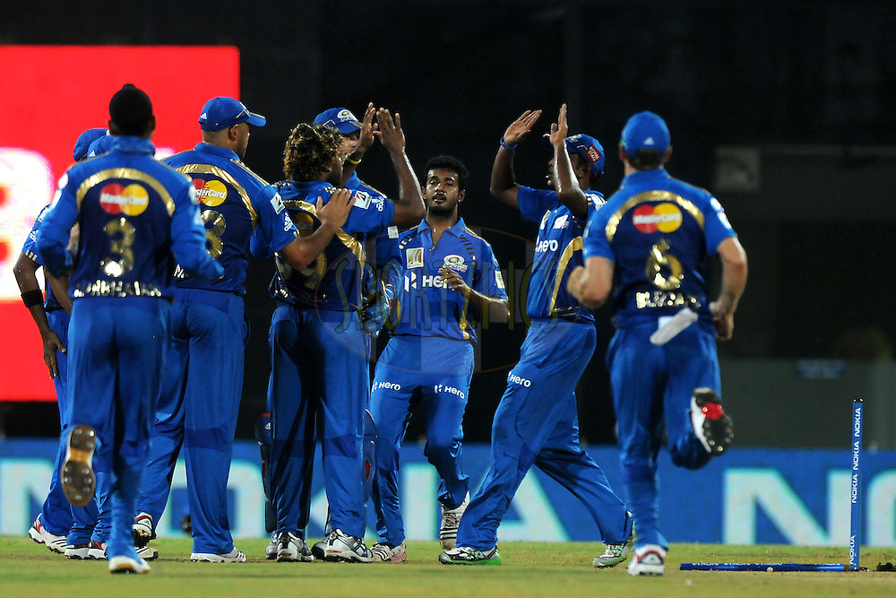 Lasith Malinga of Mumbai Indians celebrate the wicket of Murali Vijay of Chennai Super Kings  during match 3 of the NOKIA Champions League T20 ( CLT20 )between the Chennai Superkings and the Mumbai Indians held at the M. A. Chidambaram Stadium in Chennai , Tamil Nadu, India on the 24th September 2011..Photo by Pal Pillai/BCCI/SPORTZPICS