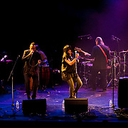 "April 9, 2011 - Manhattan, NY : M.O.D. Technologies, featuring Hawk, center left, Gigi, center, and Doctor Israel, right, performs during the Japan Society's 12-hour-long special ""Concert For Japan"" charity event on Saturday.  (This was taken during the 6-7:20pm Gala Block)... CREDIT: Karsten Moran for The New York Times."
