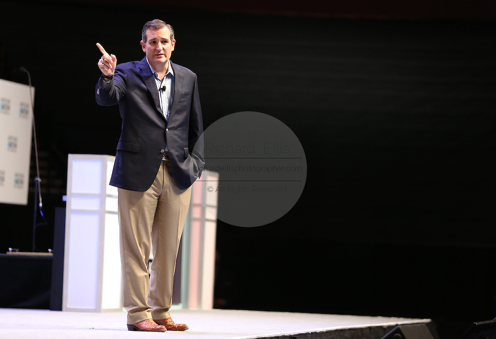 Senator and GOP presidential candidate Ted Cruz speaks at the Heritage Foundation Take Back America candidate forum September 18, 2015 in Greenville, South Carolina. The event features 11 presidential candidates but Trump unexpectedly cancelled at the last minute.