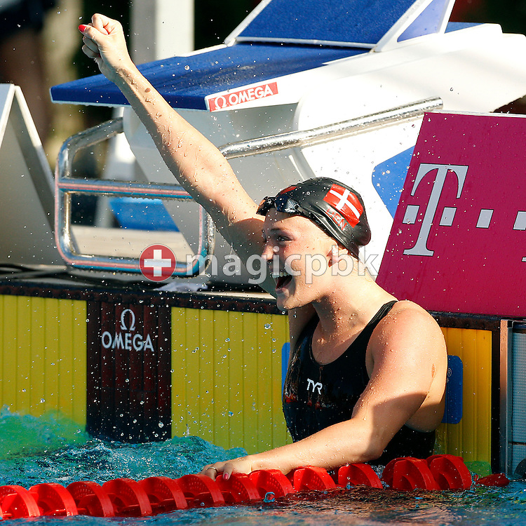 Jeanette OTTESEN of Denmark celebrates after finishing second in women's 50m Butterfly Final at the European Swimming Championship at the Hajos Alfred Swimming complex in Budapest, Hungary, Tuesday, Aug. 10, 2010. (Photo by Patrick B. Kraemer / MAGICPBK)
